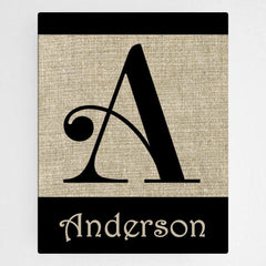 Personalized Family Initial Canvas Sign - Swirly