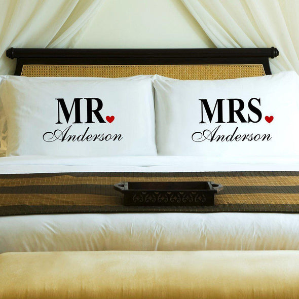 Personalized Couples Pillow Case Set - Mr. & Mrs. -