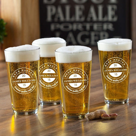 Personalized Pint Glasses - Set of 4 - Groomsmen Gifts - BrewMaster - Personalized Barware - AGiftPersonalized