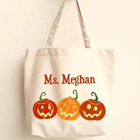 Personalized Halloween Canvas Trick-or-Treat Tote -  - Teacher Gifts - AGiftPersonalized