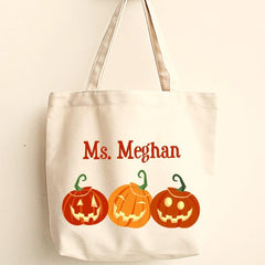 Personalized Halloween Canvas Trick-or-Treat Tote
