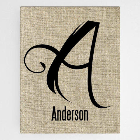 Personalized Family Initial Canvas Sign - Antique