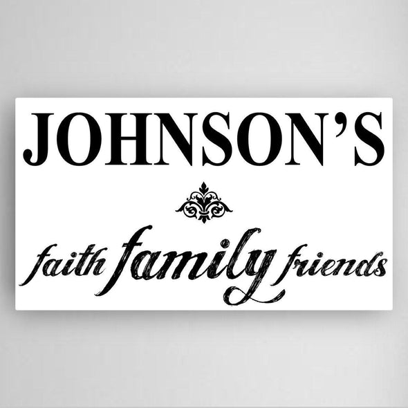 Personalized Faith, Family and Friends Canvas Sign -  - JDS