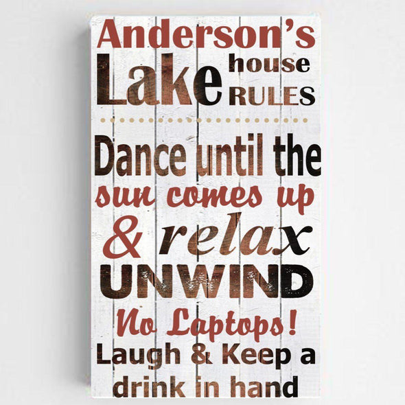 Personalized Lake House/Cabin Rules Canvas Sign - Red - JDS