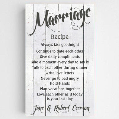 Personalized Marriage Recipe Canvas Print -  - JDS