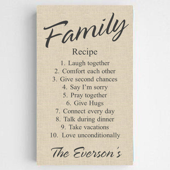Personalized Family Recipe Canvas Sign - ChicLinen - JDS