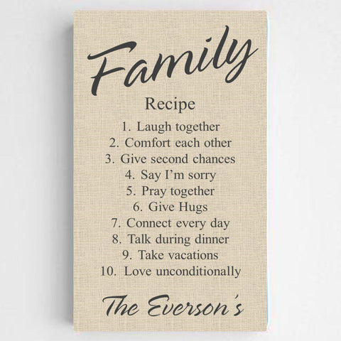 Personalized Family Recipe Canvas Sign - ChicLinen - Canvas Prints - AGiftPersonalized