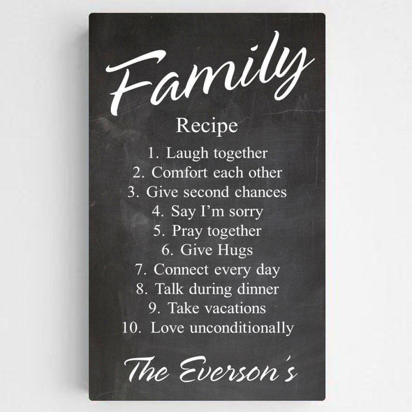 Personalized Family Recipe Canvas Sign - Chalkboard - JDS