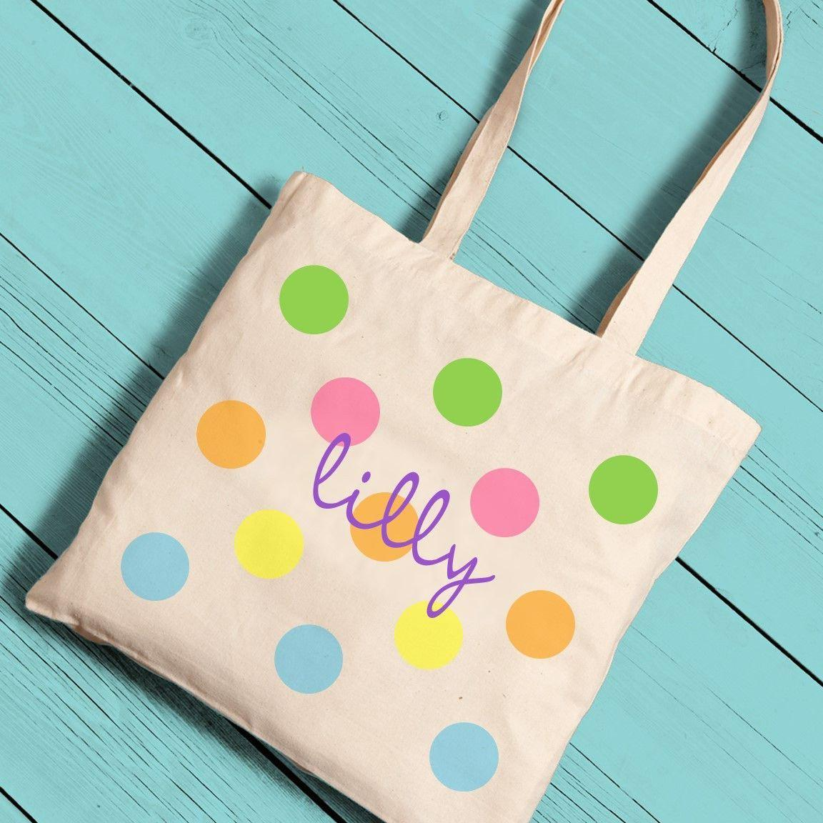 Personalized Colorful Polka Dot Canvas Tote