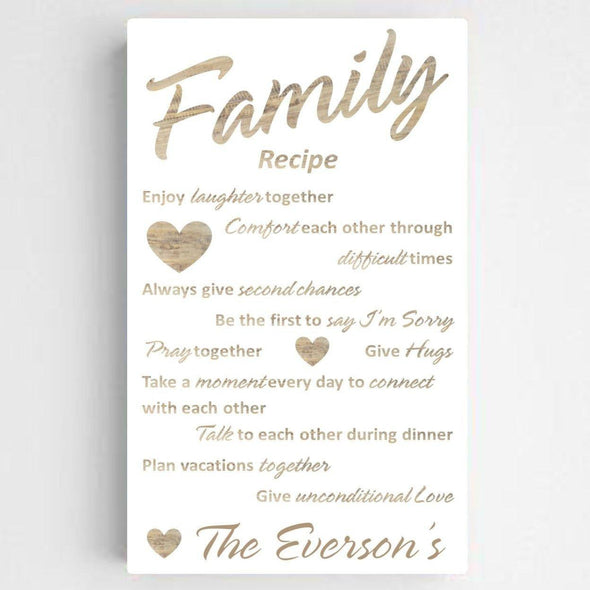 Personalized Family Recipe Canvas Sign - ChicWhite - JDS
