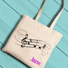 Personalized Tote Bags - Music Notes - Canvas - Lightweight