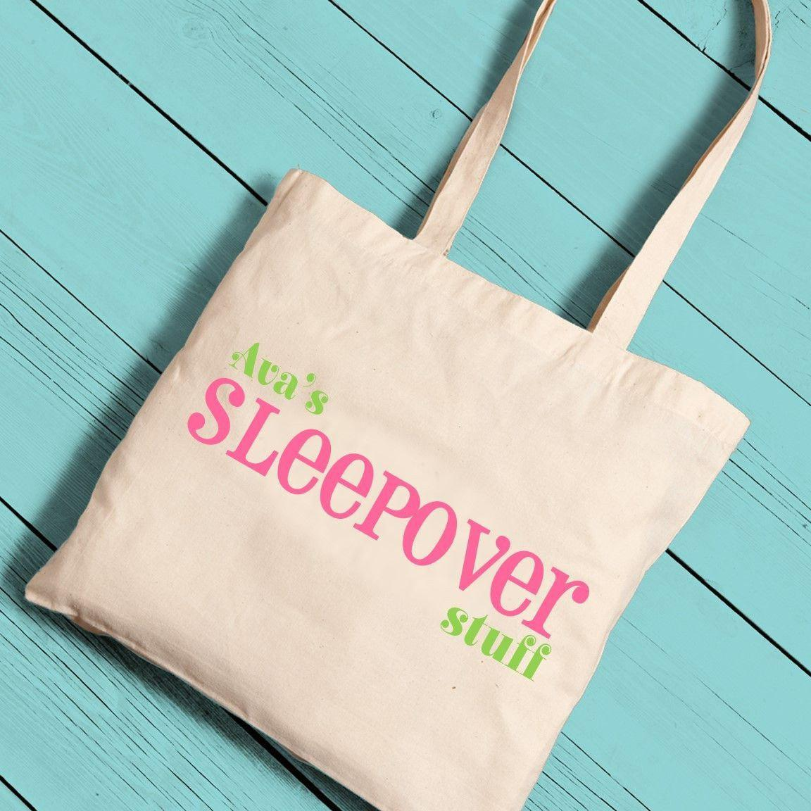 Personalized-Girl-Canvas-Tote-Sleepover