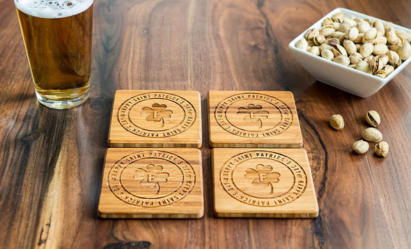 Personalized St. Patrick's Day Bamboo Coasters – Set of Four -  - Qualtry