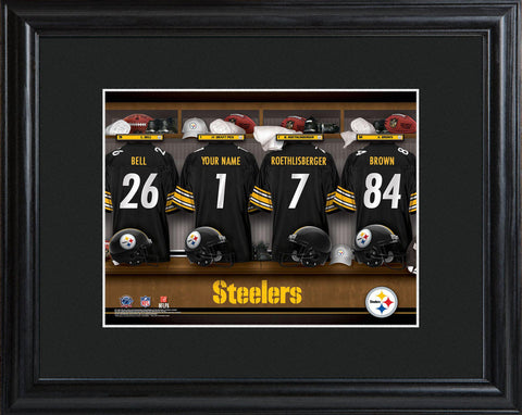 Personalized NFL Locker Sign w/Matted Frame - All Teams - Steelers - Professional Sports Gifts - AGiftPersonalized