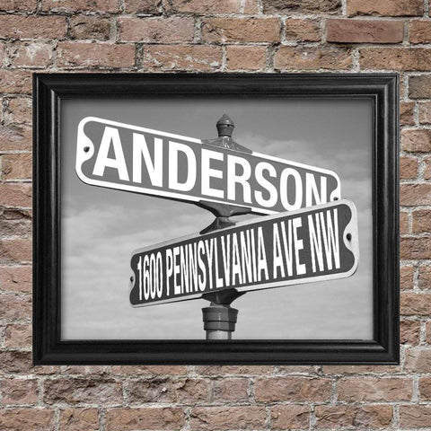 Personalized Signs - Framed - Black & White - Street Sign at AGiftPersonalized