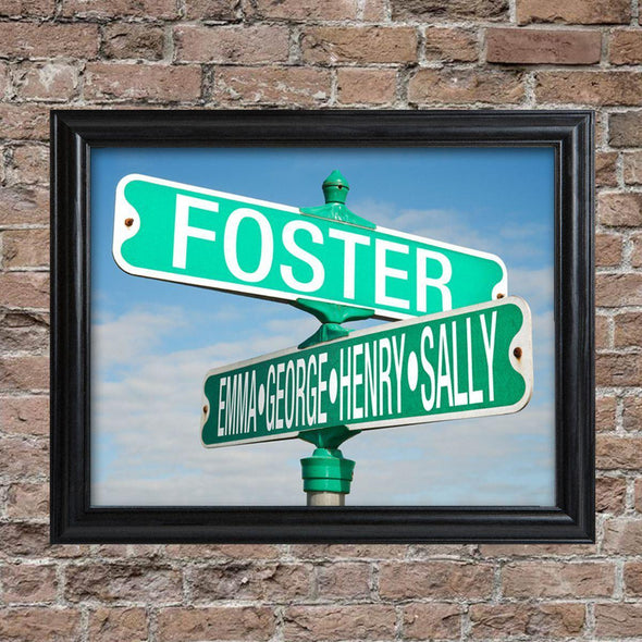 Personalized Intersection Street Sign - Framed -  - JDS
