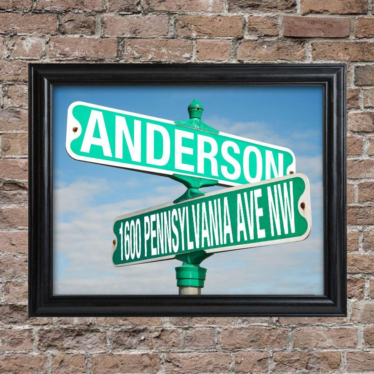 Personalized Intersection Street Sign - Framed
