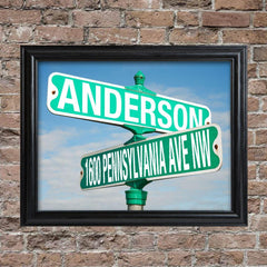 Personalized Framed Intersection Street Sign Print