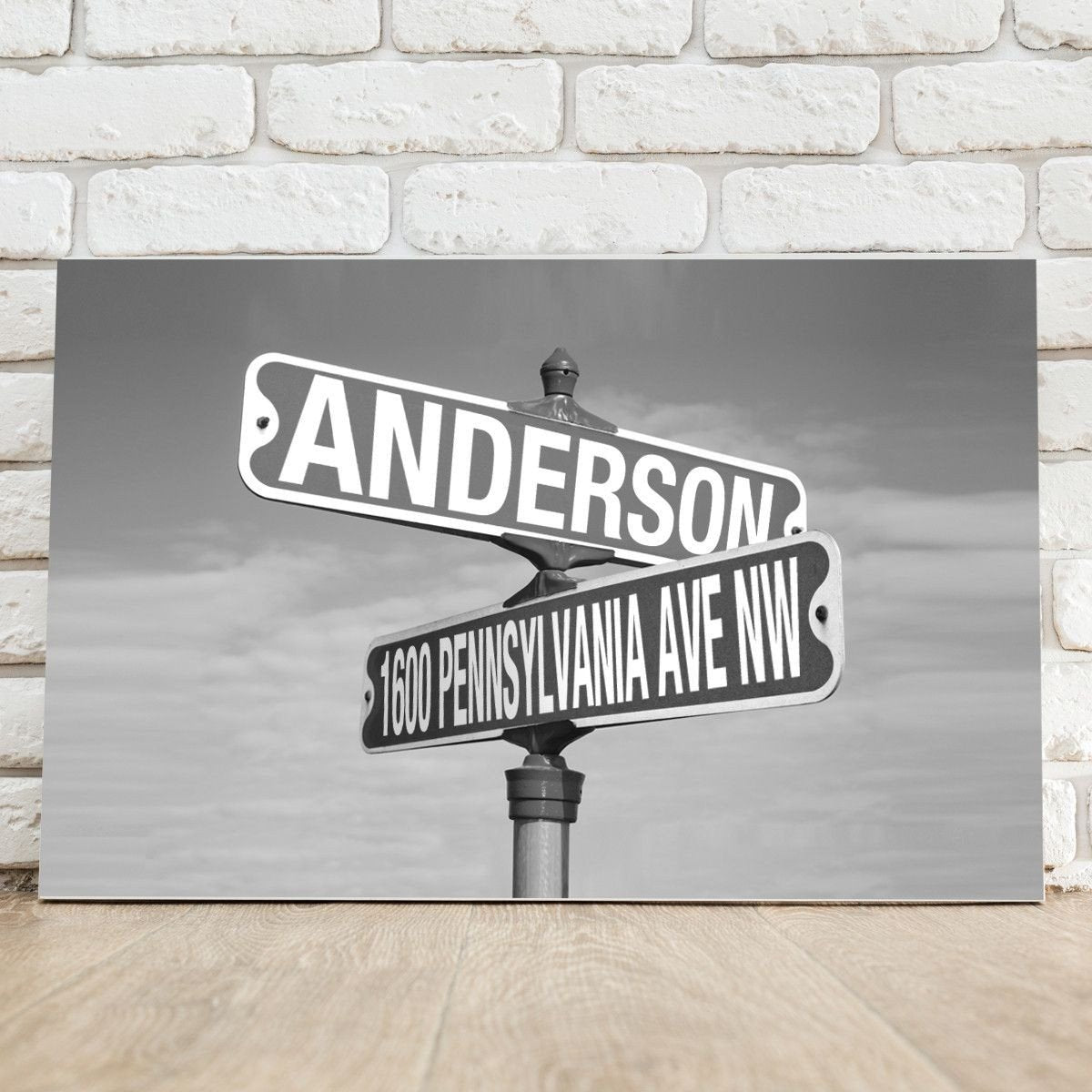 Personalized Black and White Intersection Street Sign - Canvas