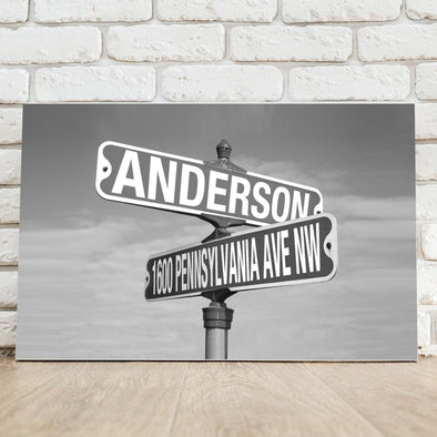 Personalized Black and White Intersection Street Sign - Canvas -  - JDS