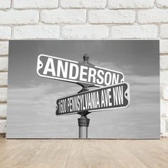 Personalized Black and White Intersection Street Sign Canvas