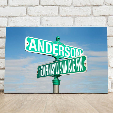 Personalized Intersection Street Sign Canvas Print -  - Frames - AGiftPersonalized