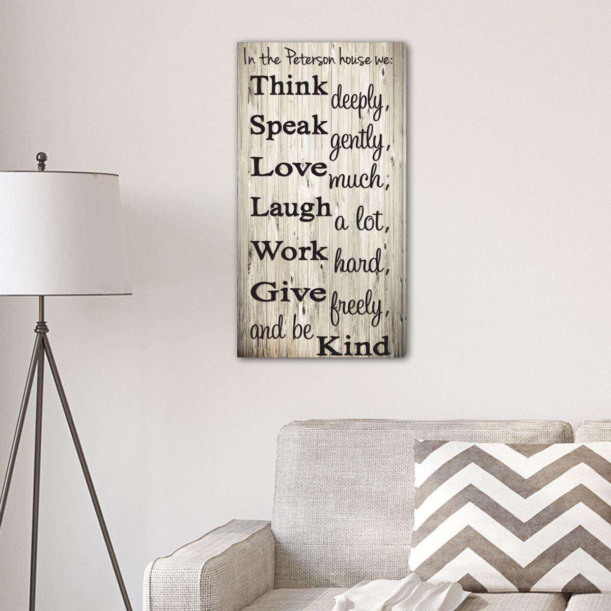 Think Speak Love Personalized Canvas Print