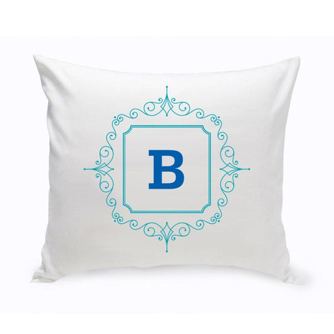 Initial Motif Throw Pillow - Blue - Home Decor - AGiftPersonalized