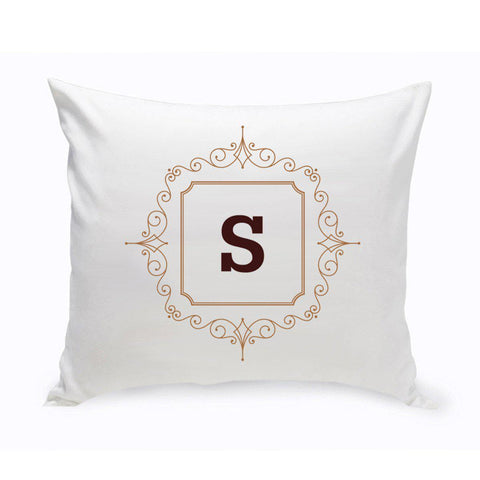 Initial Motif Throw Pillow - Brown - Home Decor - AGiftPersonalized