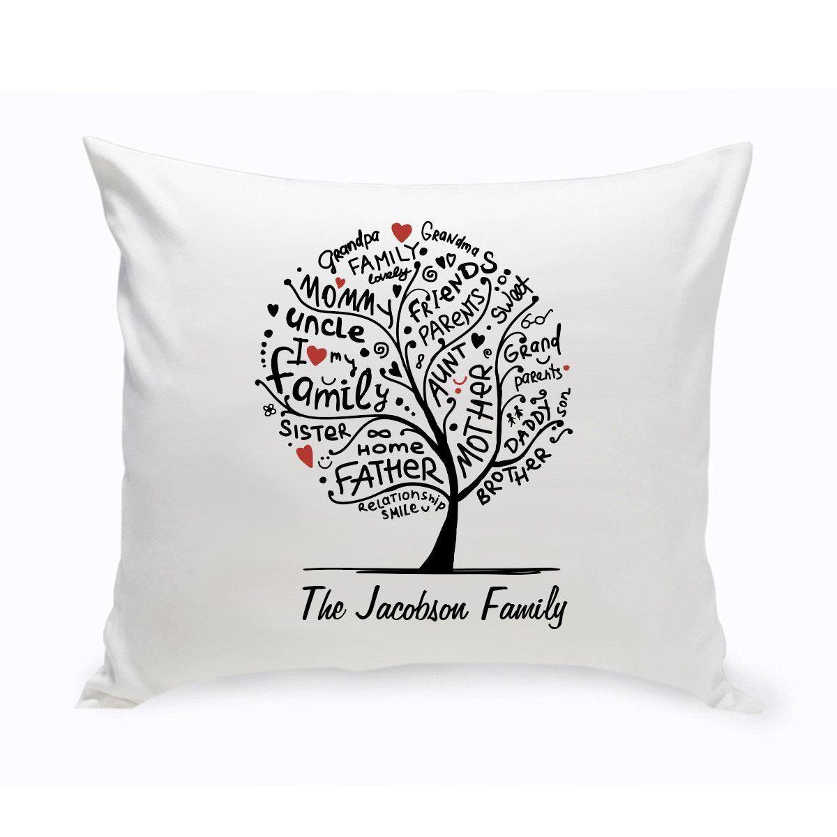 Personalized Family Roots Tree Square Throw Pillow
