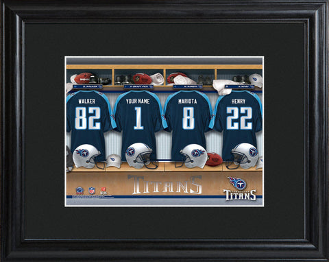 Personalized NFL Locker Sign w/Matted Frame - All Teams - Titans - Professional Sports Gifts - AGiftPersonalized