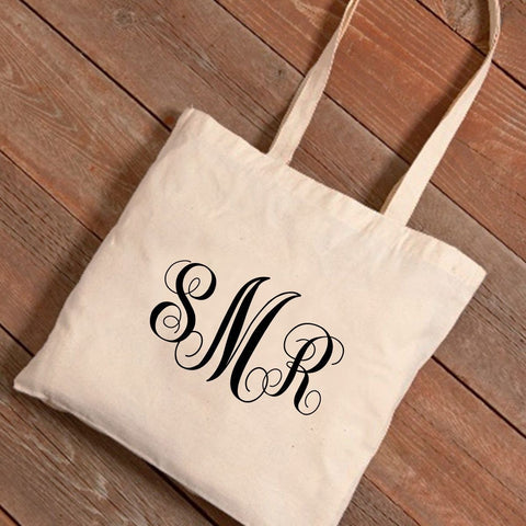 Personalized Interlocking Monogram Canvas Tote Bag -  - Tote Bags - AGiftPersonalized
