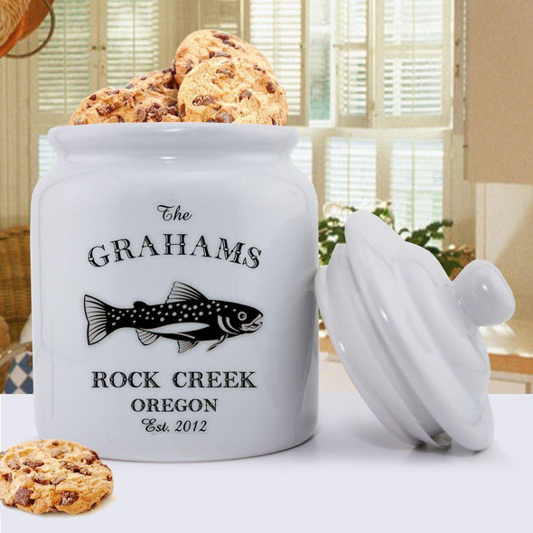 Personalized Cabin Series Cookie Jar - Trout - JDS