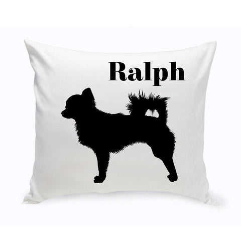 Monogrammed Dog Throw Pillow -  Classic Silhouette - Chihuahua - Pet Gifts - AGiftPersonalized