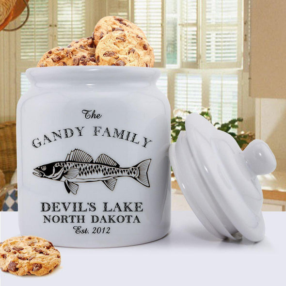 Personalized Cabin Series Cookie Jar - Walleye - JDS