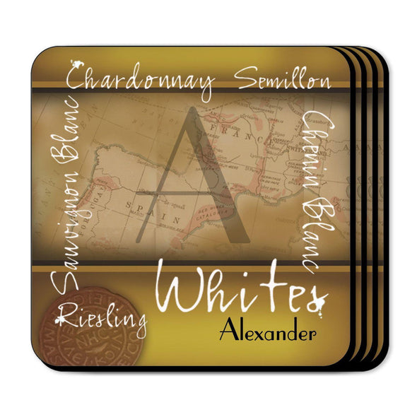 Personalized Wine Coasters - White - JDS