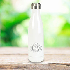 Personalized White Stainless Steel Double Wall Insulated Water Bottle - Interlocking - Travel Gear - AGiftPersonalized