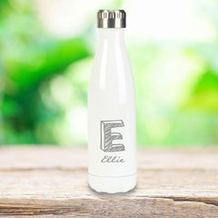 Personalized White Stainless Steel Double Wall Insulated Water Bottle - Kate - Travel Gear - AGiftPersonalized