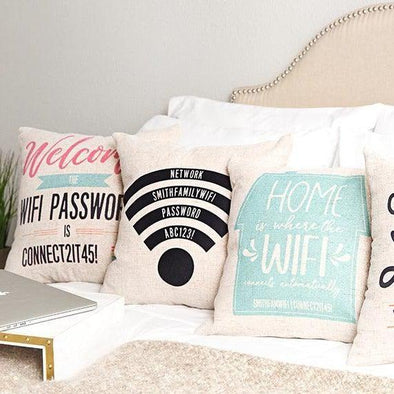 Personalized WiFi Throw Pillow Covers -  - Qualtry