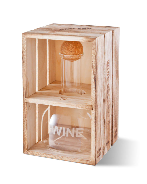 Personalized Wine Decanter in Wood Crate with set of 2 Stemless Wine Glasses -  - JDS