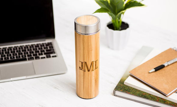 Personalized Insulated Bamboo Water Bottles -  - Qualtry