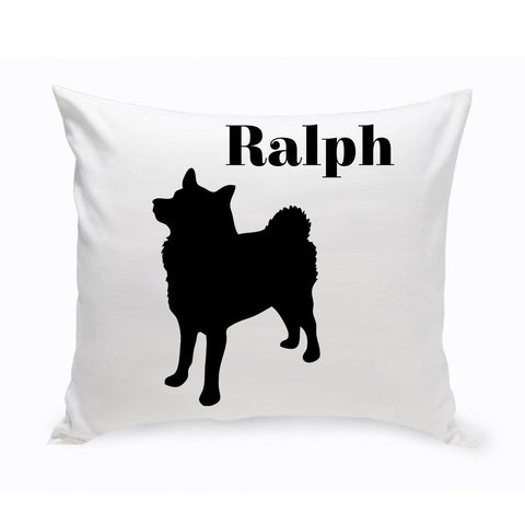 Monogrammed Dog Throw Pillow -  Classic Silhouette - Eskimo - Pet Gifts - AGiftPersonalized