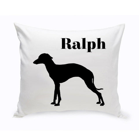 Monogrammed Dog Throw Pillow -  Classic Silhouette - GreyHound - Pet Gifts - AGiftPersonalized