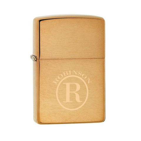 Personalized Lighters - Zippo - Brushed Brass - Executive Gifts - Circle - Zippo Lighters & Gifts - AGiftPersonalized