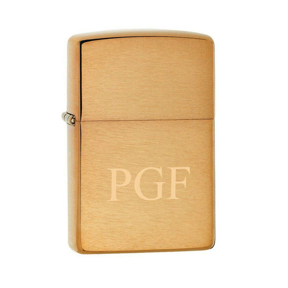 Personalized Brushed Brass Zippo Lighter - Stamped - Zippo
