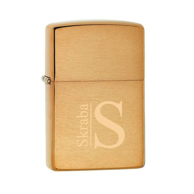 Personalized Brushed Brass Zippo Lighter -  - Zippo