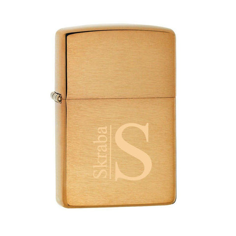 Personalized Lighters - Zippo - Brushed Brass - Executive Gifts - Modern - Zippo Lighters & Gifts - AGiftPersonalized