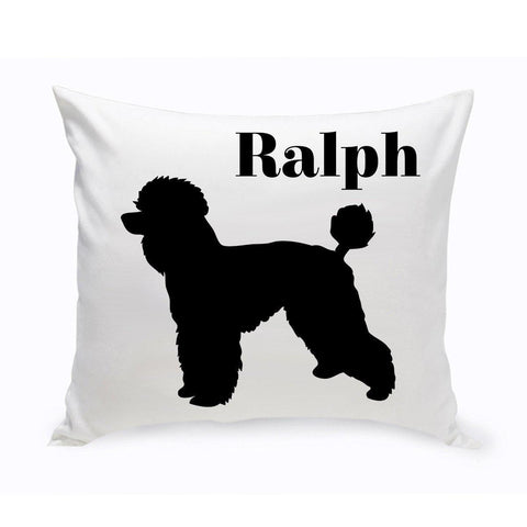 Monogrammed Dog Throw Pillow -  Classic Silhouette - ToyPoodle - Pet Gifts - AGiftPersonalized