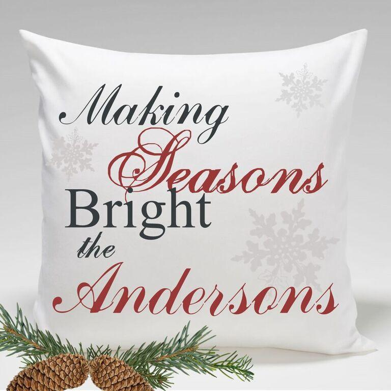 Personalized Making Seasons Bright Holiday Throw Pillows
