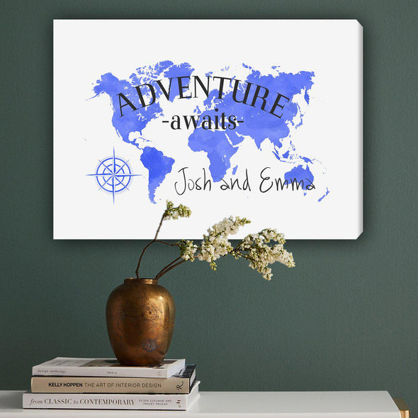 Personalized Adventure Awaits Canvas Map - Blue - JDS